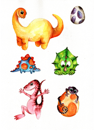 Cute Little Watercolor Dinos hand-painted illustration. Stock Illustration - 107321201