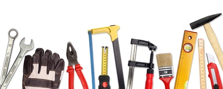 yardstick: A Set of a lot of different tools and working materials