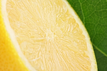A fresh cutted lemon with a green leaf in backgrond. photo