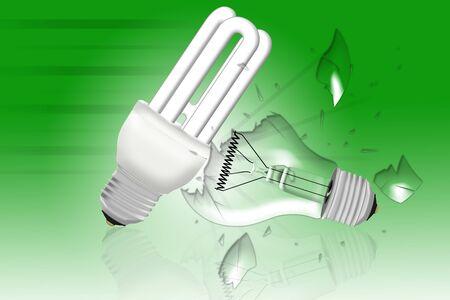 sustainably: energy saving bulb smashing lightning bulb