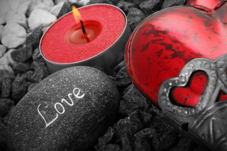 love stil live with heart cabdle and a love stone Stock Photo - 8669232