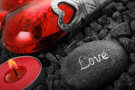 love stil live with heart cabdle and a love stone. Stock Photo - 8669242