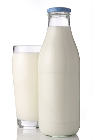 glass of milk: milk bottle with glass Stock Photo