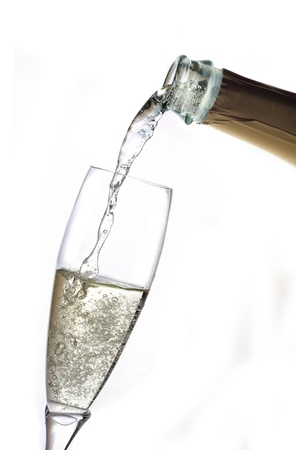 pour champagne from bottle into glass Stock Photo - 8669125