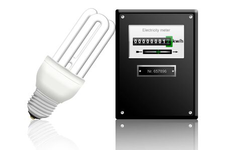 sustainably: electricity meter with a energy saving bulb