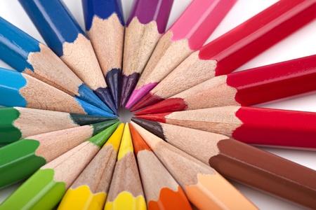 color�: Crayons dans une formation de couleur diff�rentes.