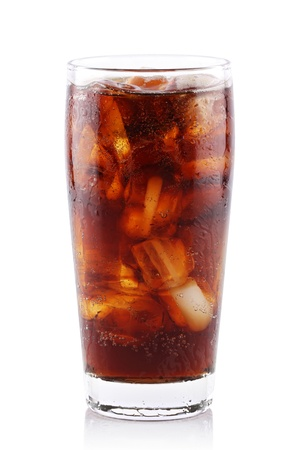 iced soda in glass on white background.