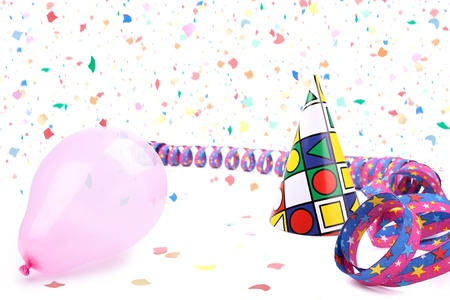 Streamer,balloon and party hat in confetti rain. Stock Photo - 9076717