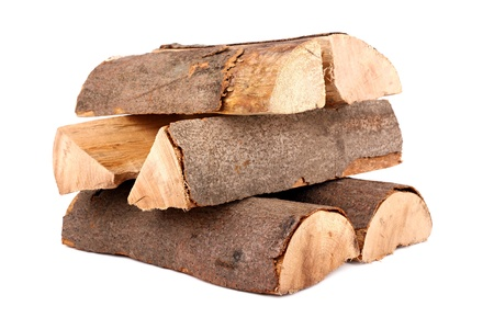 woodpile: a stack of nature firewood Stock Photo