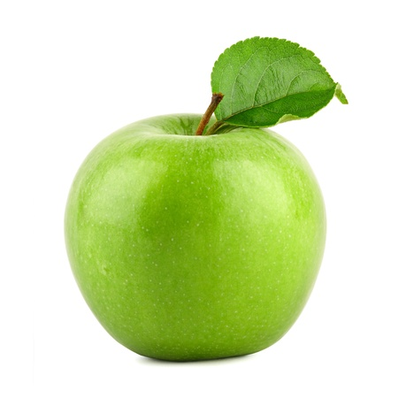Green granny smith apple on white background