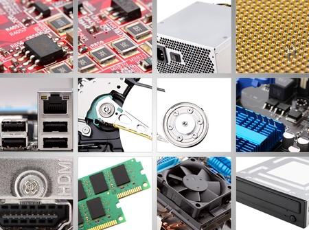 collage van verschillende persona computer componenten.