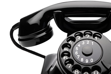old phone: an old telephon with rotary dial Stock Photo