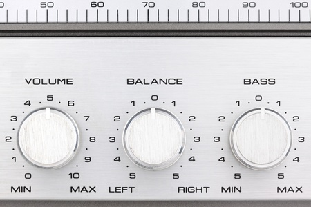 volume knob: aluminum controlls of an old ghetto blaster Stock Photo