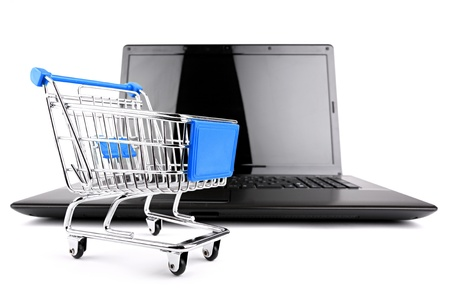 shop cart in front of a notebook