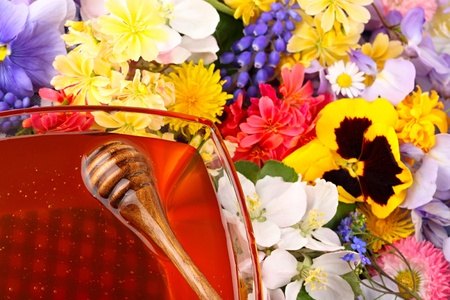 Glass pot with honey with many flowers Stock Photo - 10061378
