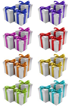 three gift boxes: silver presents with different ribbon colors on white background Stock Photo