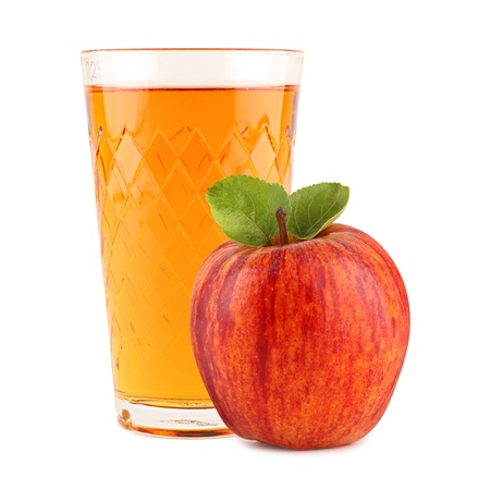 apple wine glass with apple in front of white background
