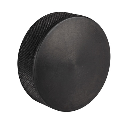 hockey: ice hockey puck in front of white background