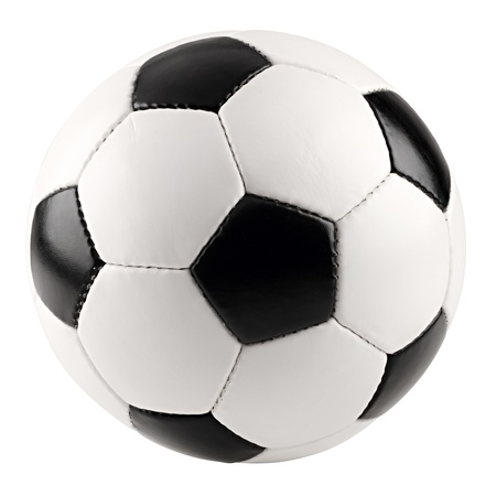 a classic black white soccer ball on white background photo