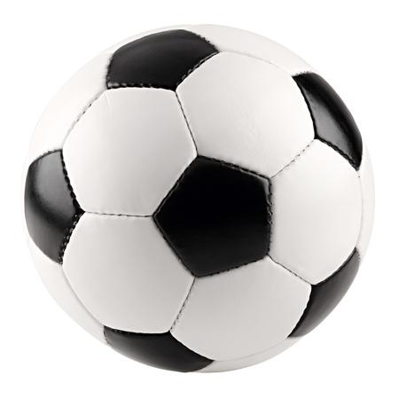 een klassieke zwart wit voet bal op witte achtergrond Stockfoto
