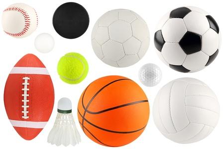 een set van verschillende sportartikelen en ballen Stockfoto