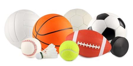 indoor soccer: un conjunto de equipos de diferentes deportes y bolas Foto de archivo