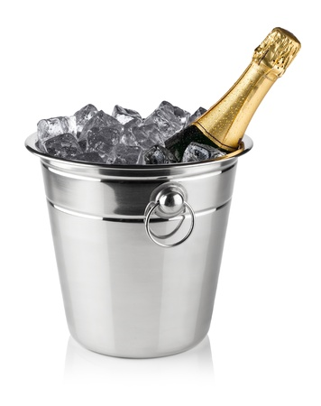 cooler: bottle of champagne in cooler with ice cubes Stock Photo
