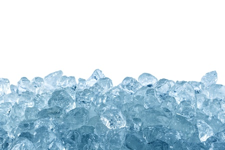 ice water: crushed ice in front of white background Stock Photo