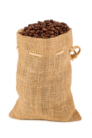 coffee sack: a back filled with coffee beans