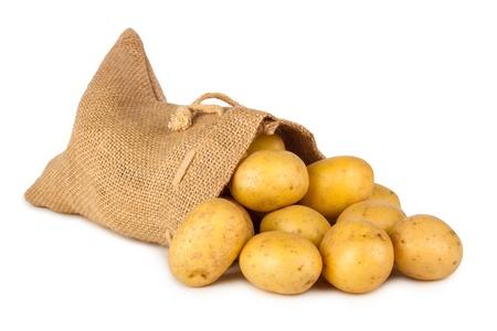 potato bag with fresh potatoes photo