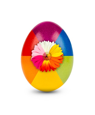 gebera: multicolored easter egg decorated with gebera blossom Stock Photo