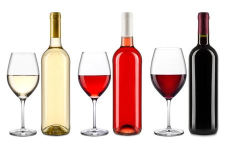 bouteille de vin: ensemble de bouteilles de vin et des verres Banque d'images
