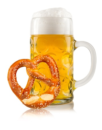 pretzel: beer mug with german pretzel Stock Photo