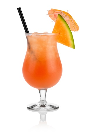 Cocktail cantaloupe in front of white background