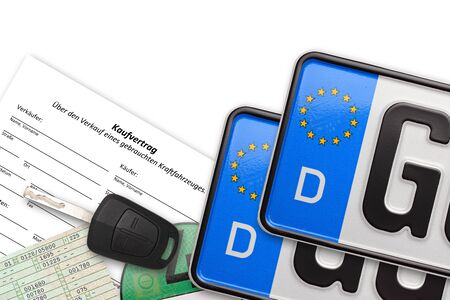 german number plates with contract key and papers on white background Stockfoto