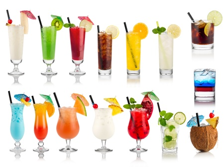 set of cocktails soft and longdrinks ind front of white background