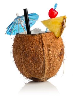 alcoholic drinks: Cocktail coconut in front of white background
