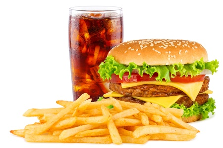 cheese burgers: double cheesesburger with french fries and cola.