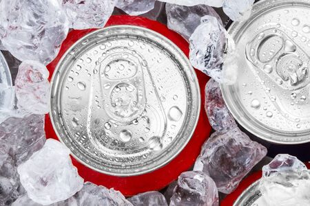 ice bucket: drink cans with crushed ice Stock Photo