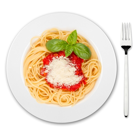 pasta isolated: plate with spaghetti, sauce and basil on white background