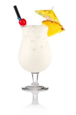 colada: Cocktail pina colada in front of white background