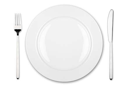 menue: place setting with dish fork and knife Stock Photo