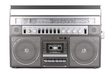 recorder: old retro radio on white background Stock Photo