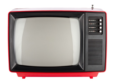 old tv: old red retro TV Stock Photo