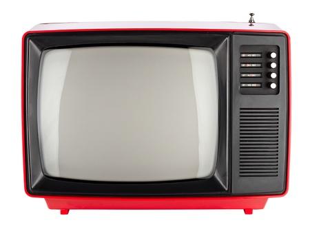 television antigua: viejo televisor retro rojo Foto de archivo