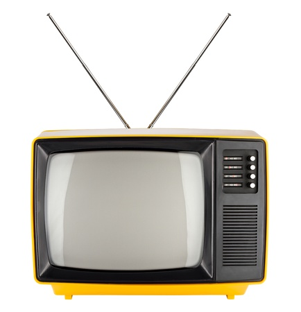 tv antenna: old yellow retro TV