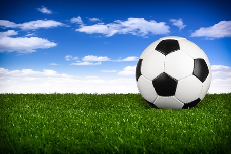 soccerball: a soccerball on a green meadow in front of blue sky