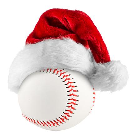 흰색 배경에 야구에 산타 모자