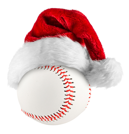 santa hat on baseball on white background