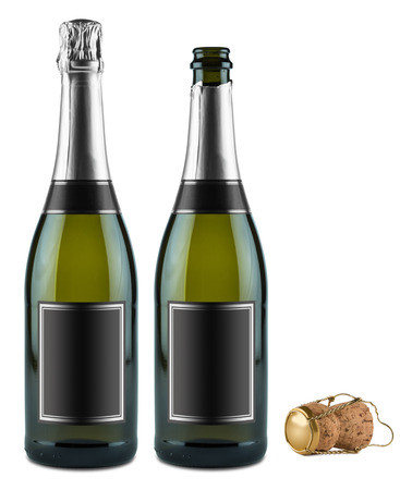 botella champagne: dos botellas de champán y corcho